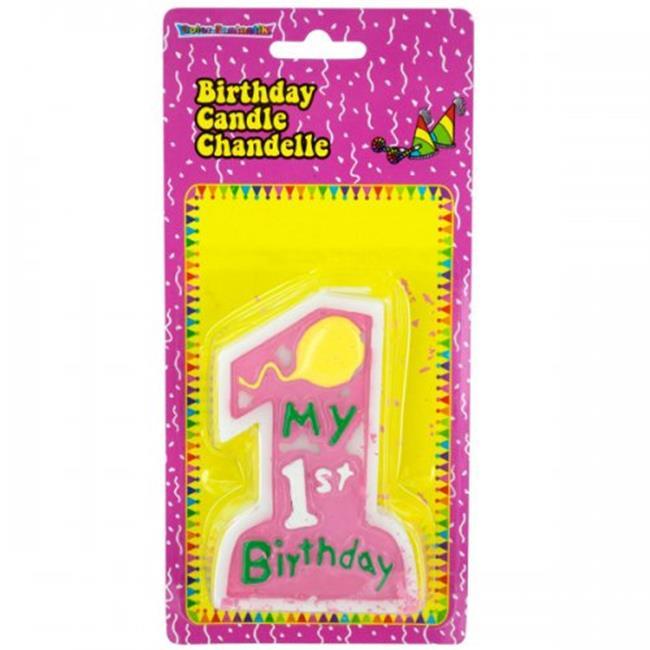 Bulk Buys PB744 My 1st Birthday Candle Pink