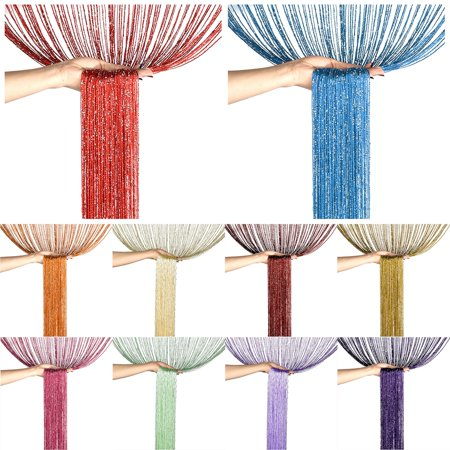 Glitter String Door Curtain Panels Window Curtains Room Dividers Silver Ribbon Thread Fringe Strip Tassel Fly Screen for Door Kitchen