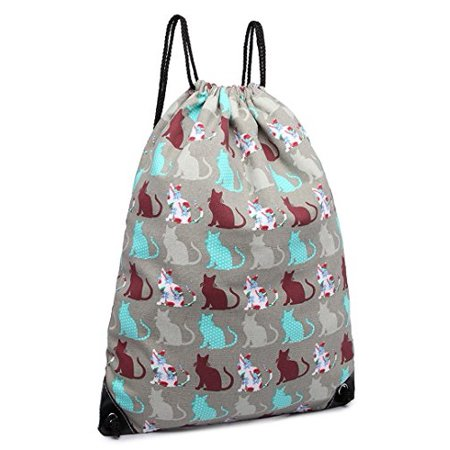 46443e4669 Miss Lulu - Cotton Canvas Waterproof Printed Drawstring Gym Work Backpack  Rucksack (Cat G... - Walmart.com