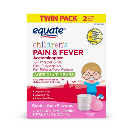 Equate Children's Pain & Fever Relief, Bubble Gum Flavor, 4 oz, 2 (Best Medicine To Reduce Fever)