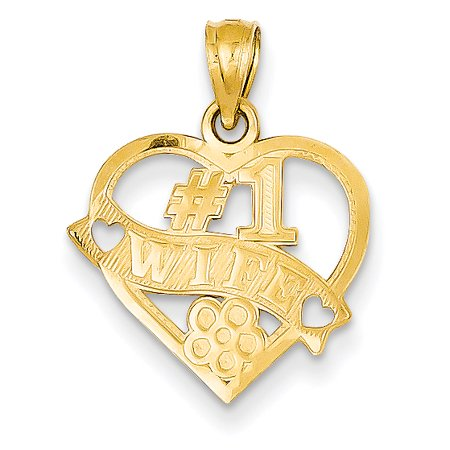 14k Yellow Gold #1 Wife Heart Pendant Charm Necklace Love Fine Jewelry For Women Gift Set