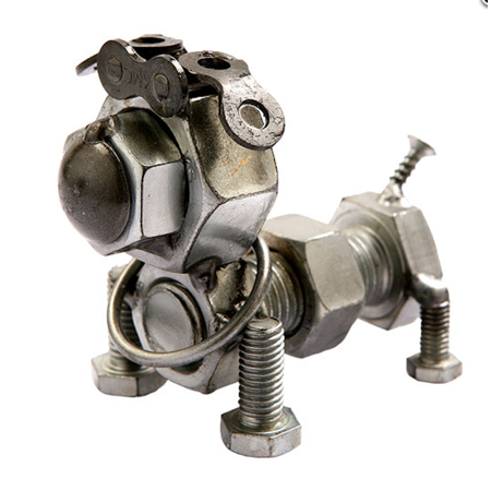 Metal Dog Sculptures (The Handcrafted - Recycled Metal Art - Bolt)