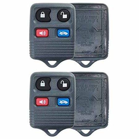 2 PACK - KeylessOption Keyless Entry Remote Key Fob Shell Case Rubber Button Pad Repair Fix CWTWB1U343, CWTWB1U313 for Ford Crown Victoria Mercury Grand Marquis Lincoln Continental Mark VIII Town Car