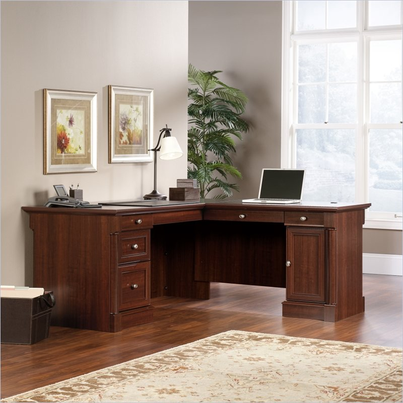 Sauder Palladia L-Shaped Desk, Select Cherry Finish