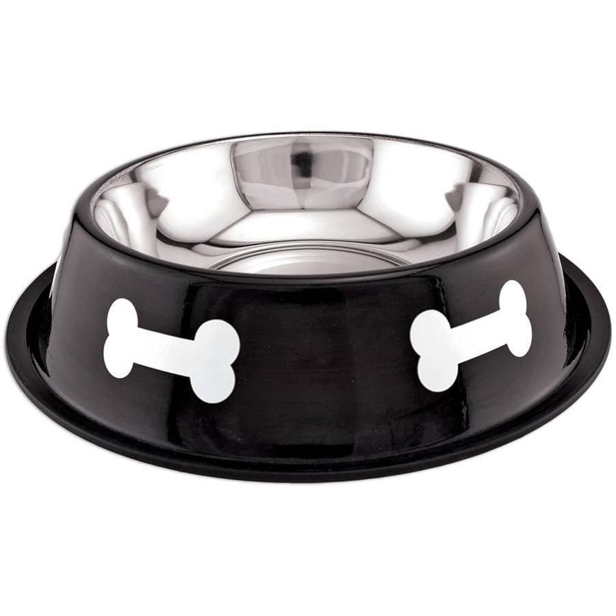 Fashion Steel Bowl Black with White Bones, 64 oz
