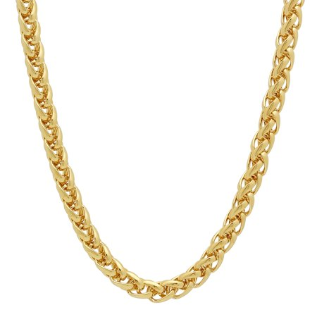 5mm 14k Gold Plated Wheat Chain + Microfiber Jewelry Polishing Cloth