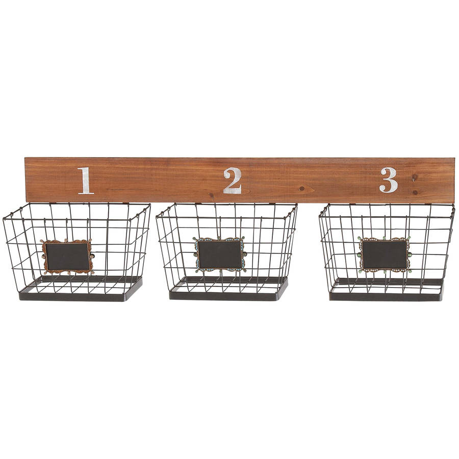 Decmode Metal and Wood Wall Basket, Multi Color