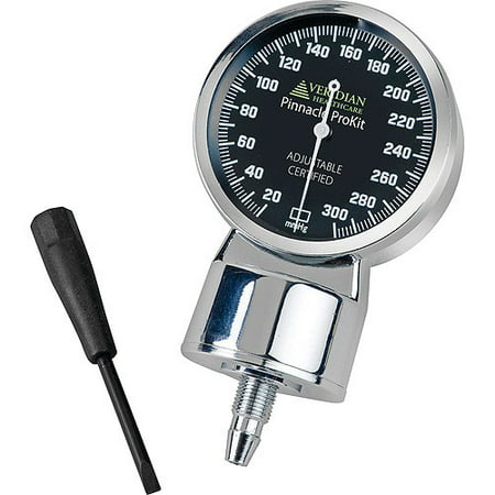 Pinnacle ProKit Gauge, Chrome-Plated, Black Gauge Face with Luminescent Dial and Needle, Adjustable