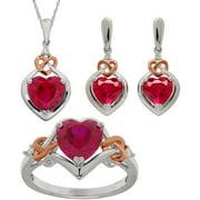 Created Ruby & .065ct 3 Piece Jewelry Se