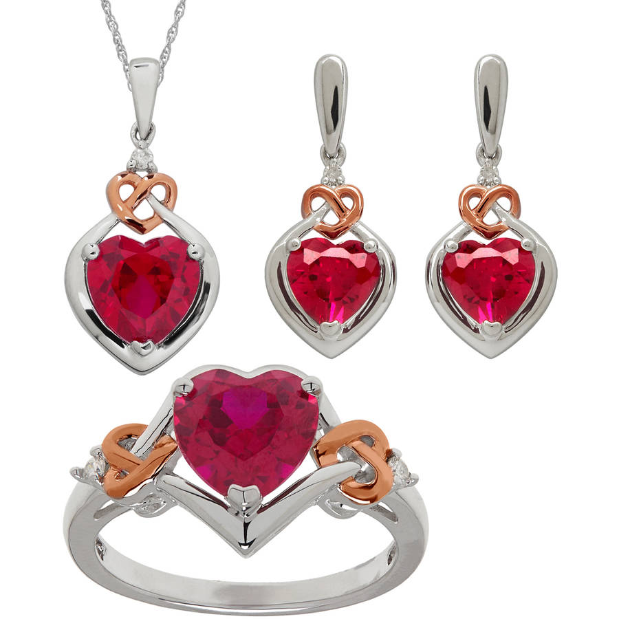 Created Ruby & .065ct 3 Piece Jewelry Se