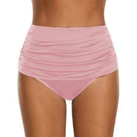 Womens High Waisted Ruched Bikini Bottoms Swim Shorts