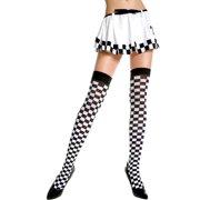 Opaque Checkered Thigh Hi Nylon Costume Hosiery