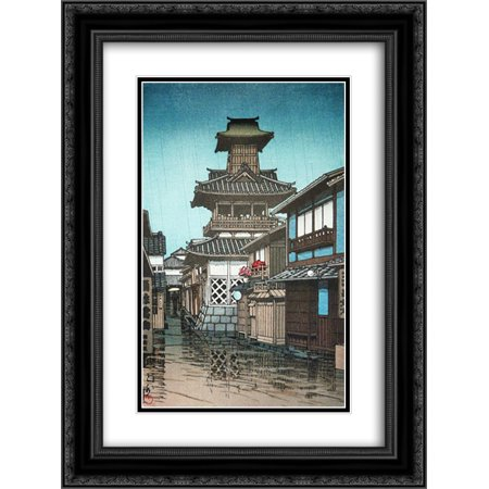 Hasui Kawase 2X Matted 20X24 Black Ornate Framed Art Print Bell Tower In The Rain At Okuyama