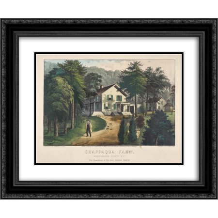 Currier and Ives 2x Matted 24x20 Black Ornate Framed Art Print 'Chappaqua Farm, Westchester County, N.Y., The Residence of Hon. Horace (Best Places To Live In Westchester Ny)