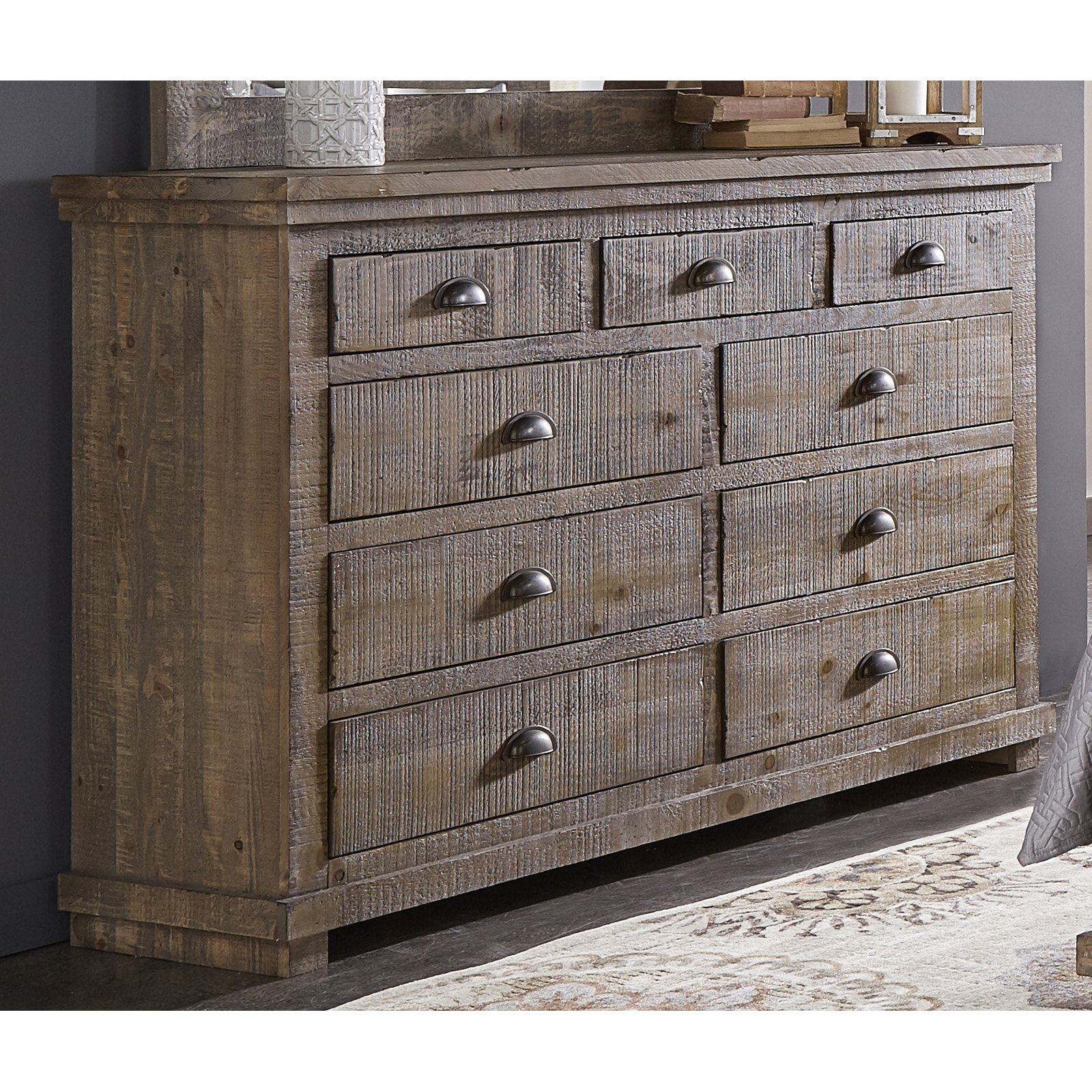 Progressive Furniture Willow Weathered 9 Drawer Dresser