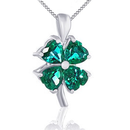 10k solid gold simulated green emerald cz four leaf clover pendant 10k solid gold simulated green emerald cz four leaf clover pendant necklace 18 mozeypictures Image collections