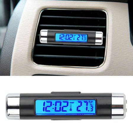 Joyfeel 2019 Hot Sale 2 in 1 Car Digital LCD Temperature Clock Auto Accessories Time Clock Air Vent Outlet Clip On