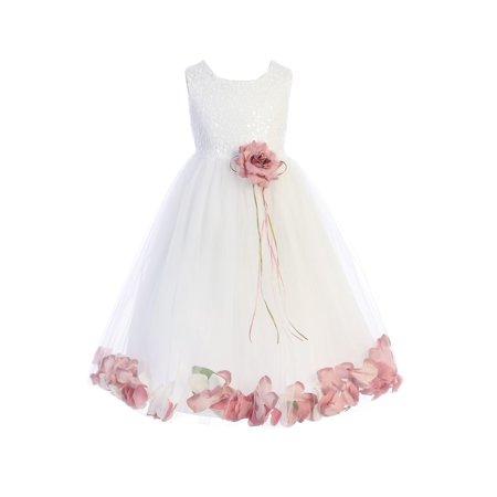 Kids Dream Little Girls White Rose Floral Petal Flower Girl