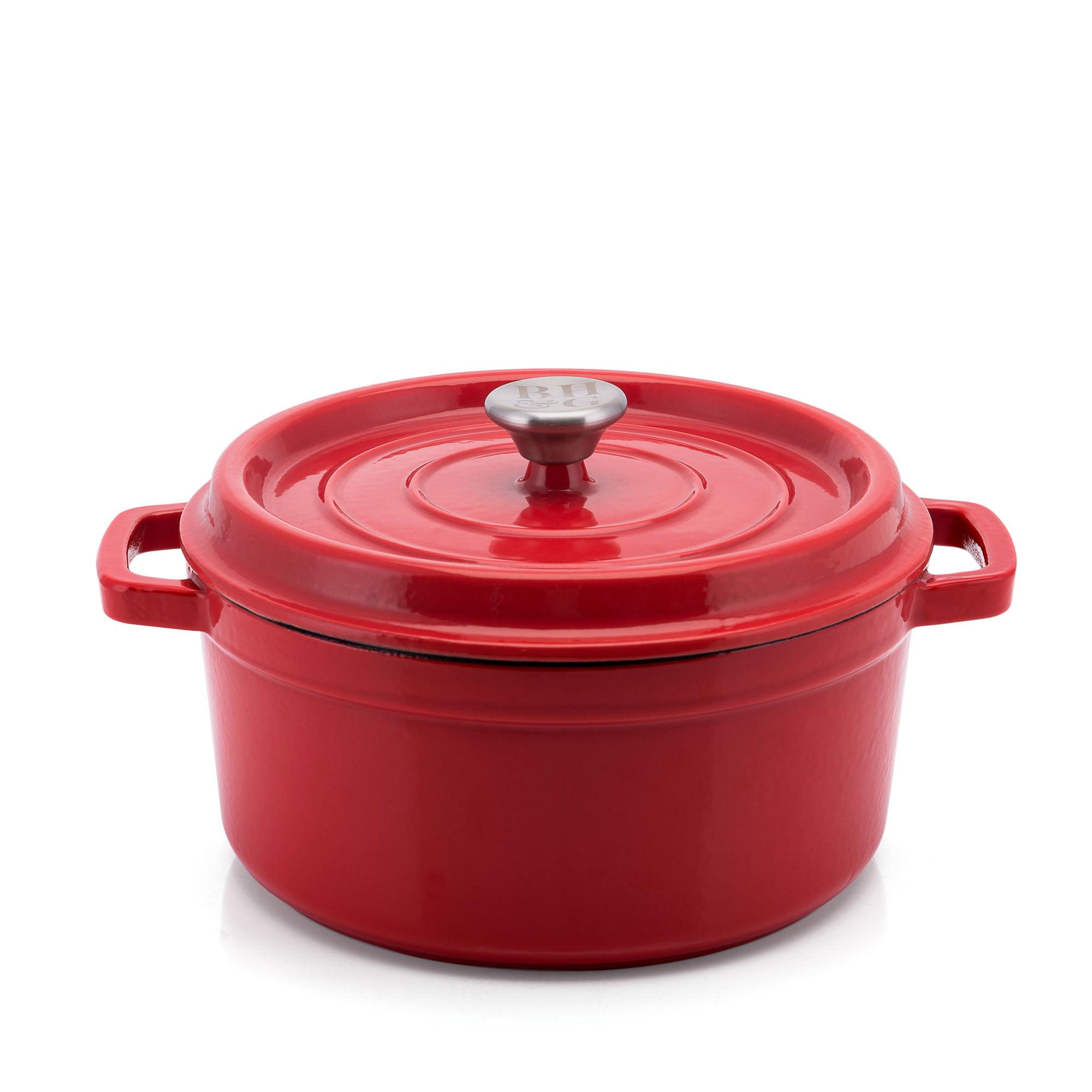 Home Marketplace 2-Piece Enamel Cast Iron Dutch Oven Red 4 Quart