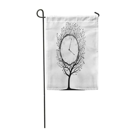 NUDECOR Fairytale Clock Tree Black and White Time of Plant Life Idea Strange Arrow Bush Garden Flag Decorative Flag House Banner 12x18 inch - image 1 de 1