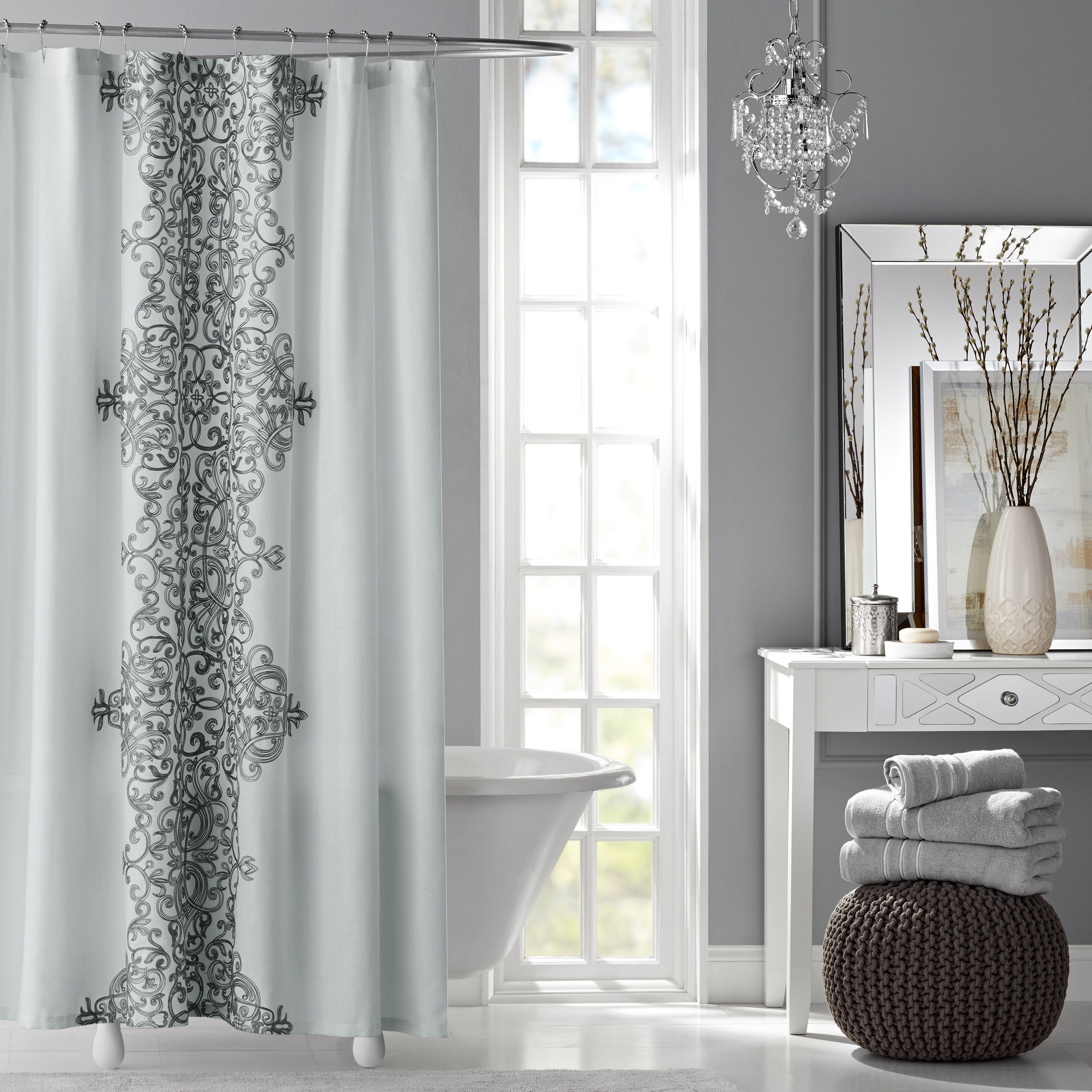 Hotel Style Manchester Embroidered Fabric Shower Curtain