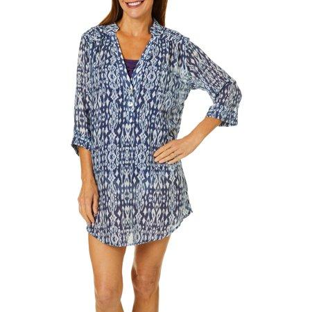 Pacific Beach Womens Ikat Print Henley Shirt Dress Cover-Up Small