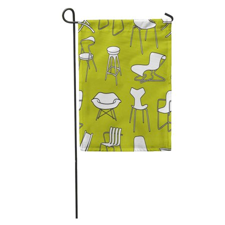 KDAGR Vintage Retro Chairs of Furniture from The 50S and 60S Garden Flag Decorative Flag House Banner 28x40
