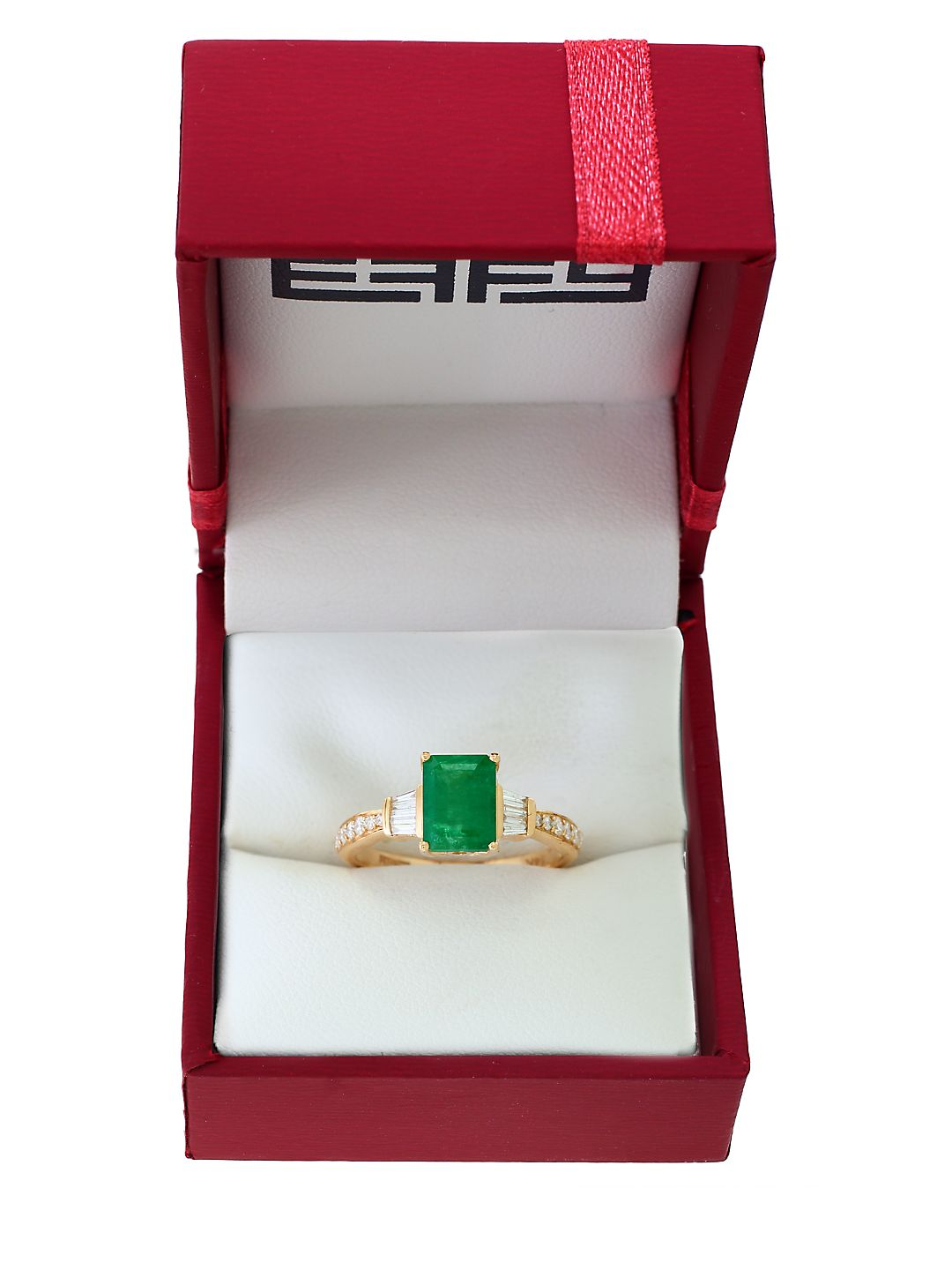 Brasilica Diamond, Emerald and 14K Yellow Gold Solitaire Ring