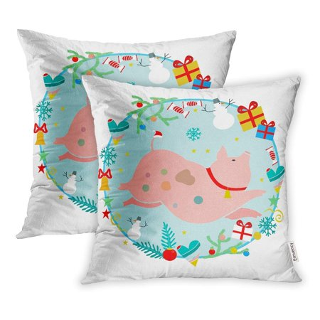 ARHOME Chtistmas Pig Symbol of Chinese New Year Cartoon Piggy Bell and Around It Heart Pillow Case Pillow Cover 18x18 inch Set of