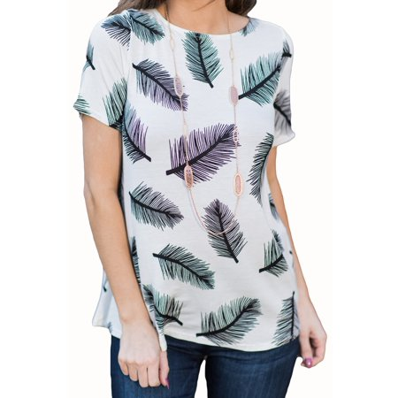 Leather Print Women Casual T-shirt Short Sleeve Cotton Tee (Leather Womens Shirt)
