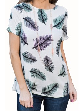Leather Print Women Casual T-shirt Short Sleeve Cotton Tee Blouse