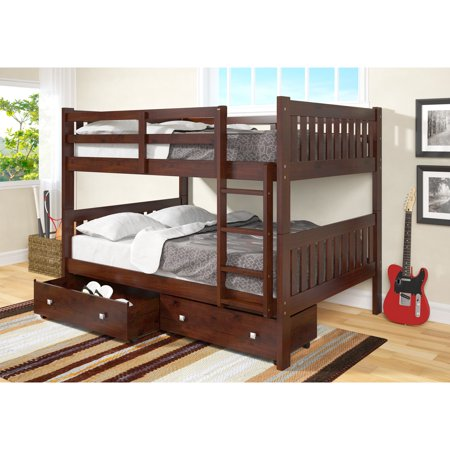 Donco Kids  Full over Full Mission Bunk Bed with Storage Drawers