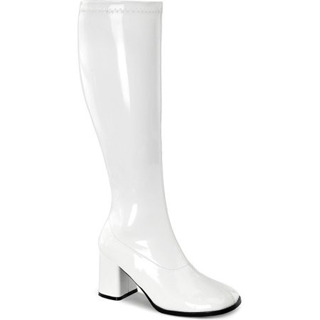 Womens Knee High Boots White GOGO 3 Inch WIDE CALF Sexy Block Heel Knee Boot Pat - White Gogo Boots Size 6