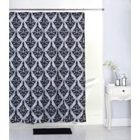 Mainstays 17pc Bathroom Set with Shower Curtain, 12 Hooks, Bath Rug, and 3pc Accessory Set