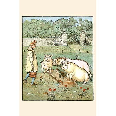 Pigs are fed in their trough  High quality vintage art reproduction by Buyenlarge  One of many rare and wonderful images brought forward in time  I hope they bring you pleasure each and every time you