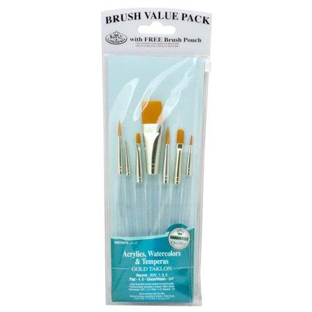 Royal   Langnickel Royal Zip N Close Gold Taklon Clear Acrylic Variety 7 Piece Brush Set