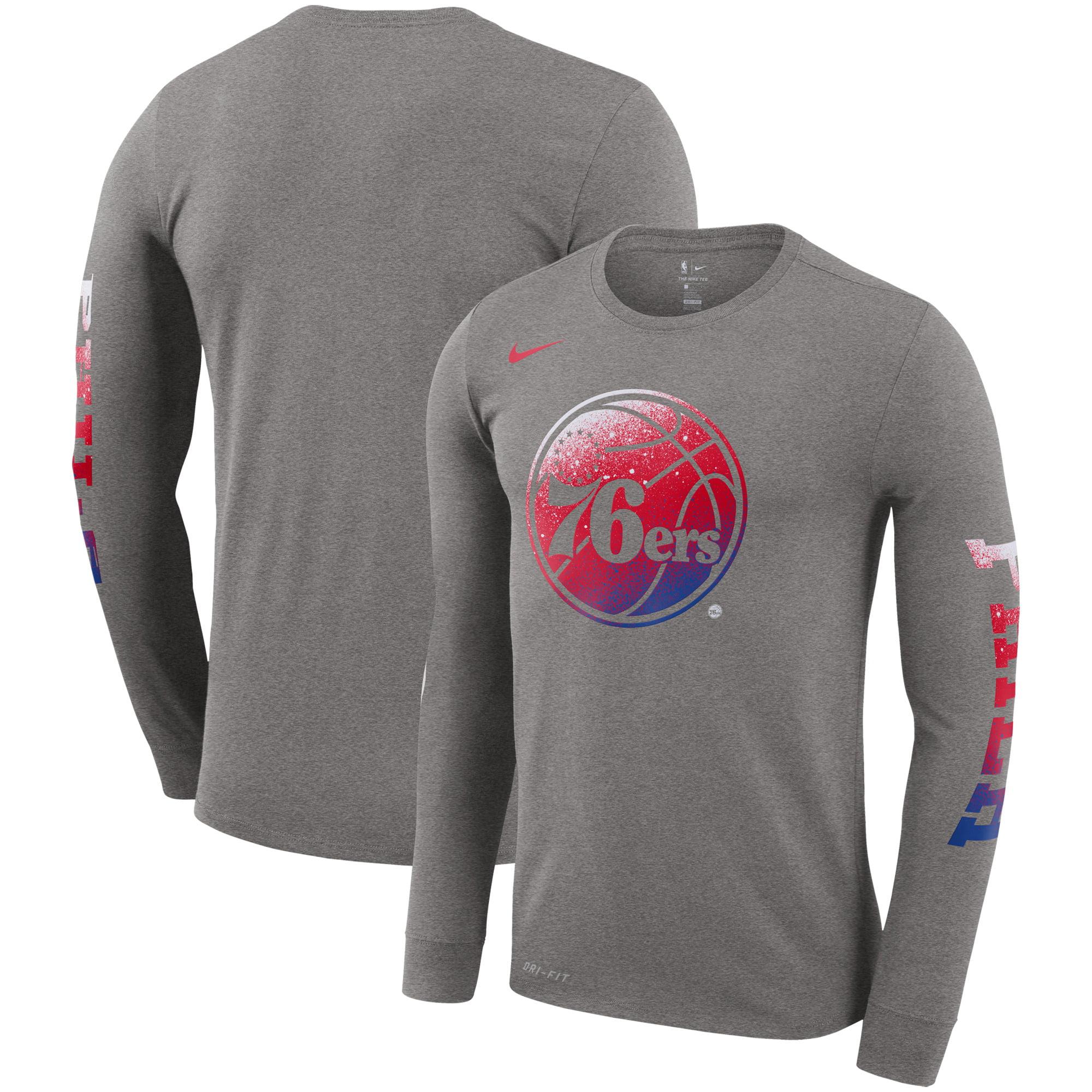 Philadelphia 76ers Nike Mezzo Print Logo Performance Long Sleeve T-Shirt - Gray