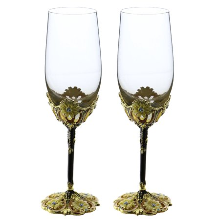 Pair of Fairytale inspired Metal Stem Fully Decorated Champagne Flute Glasses Gift Set