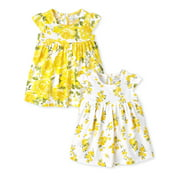 Baby Girls Yellow Dress, Pack of Two