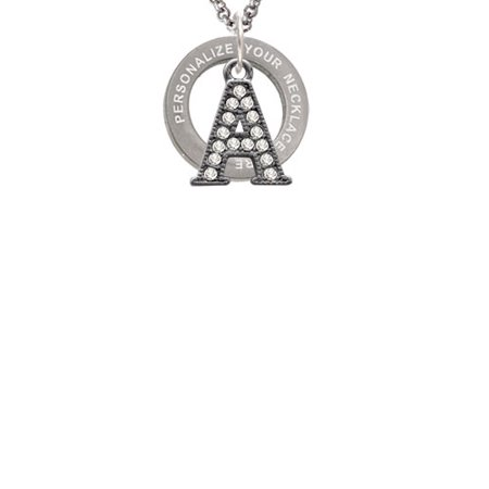 Black Nickeltone Crystal Initial - A - Beaded Border - Custom Engraved Affirmation Ring Necklace