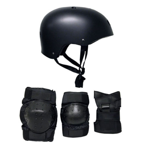 Skateboard Helmet Elbow Knee Wrist Pad Combo ADULT MEDIUM Bmx Inline BLACK by