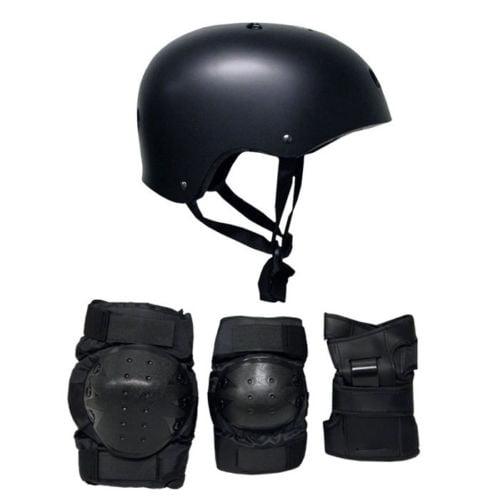 Skateboard Helmet Elbow/Knee/Wrist Pad Combo ADULT LARGE Bmx Inline BLACK
