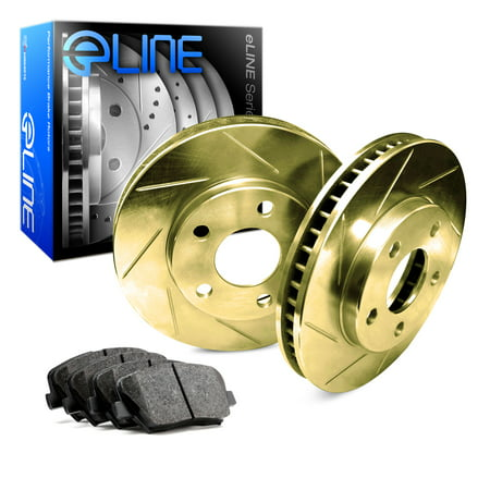 1986 1987 1988 1989 Ford Taurus Rear Gold Slotted Brake Disc Rotors & Ceramic Brake Pads