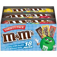 M&M'S Milk Chocolate, Peanut & Peanut Butter Candy, Halloween Full Size, 18 packs, 30.58 oz box