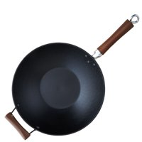 IMUSA GKG-61021 Light Cast Iron Pre-Seasoned Wok with Wood Handle 14-Inch, Red