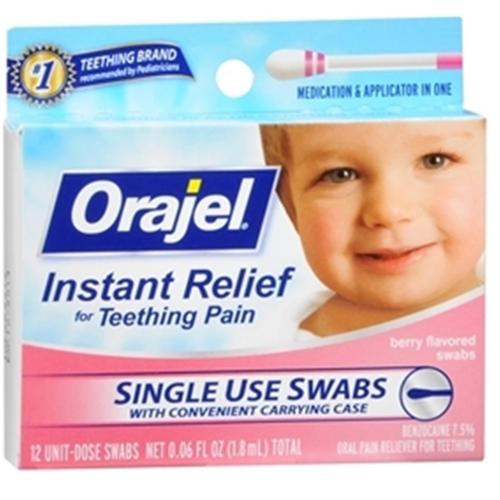 Baby Orajel Fast Teething Pain Relief Teething Swabs Berry 12 Each (Pack of 2)