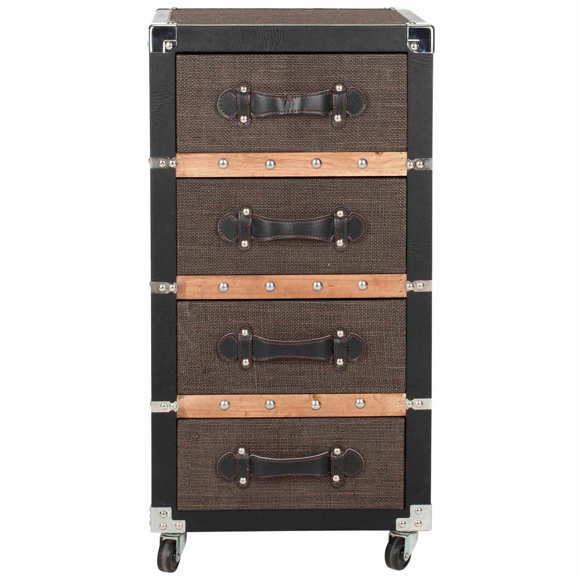 Safavieh Brent 4-Drawer Rolling Chest, Black/Brown/Silver