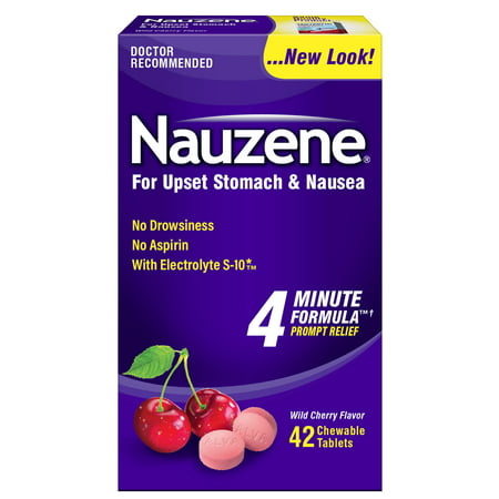 Nauzene Nausea Relief Chewable Tablets Wild Cherry Flavor, 42