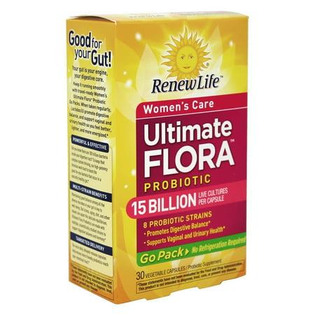 Renew Life - Soins de Flora Ultimes femmes probiotique Go Pack 15 milliards - 30 Vegetarian Capsules Autrefois probiotique pour RTS femmes