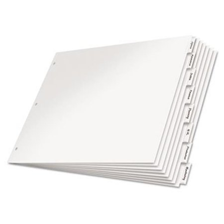Cardinal Brands 84815 11 x 17 in. 8-Tab Paper Insertable Dividers, White & Clear (52 Week Dividers)